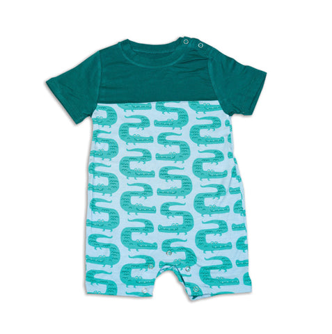 Silkberry Baby Bamboo Short Sleeve Romper - ZigZag Croc - Let Them Be Little, A Baby & Children's Boutique