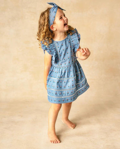 Blu & Blue Petal Embroidered Dress