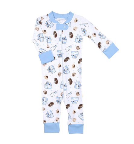 Magnolia Baby Zipped PJ Romper - Cookies & Milk Blue