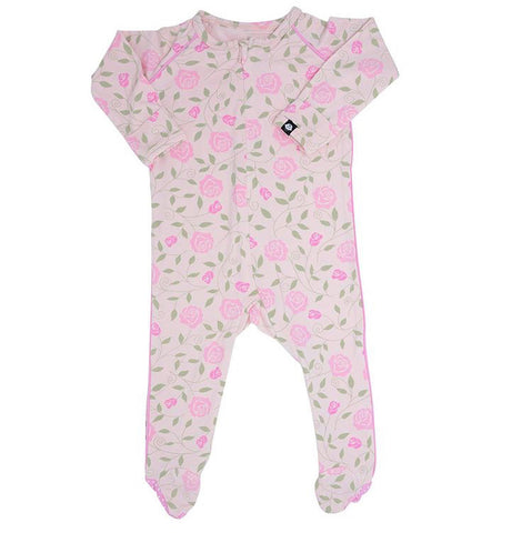 Sweet Bamboo Piped Footie - Pink Roses