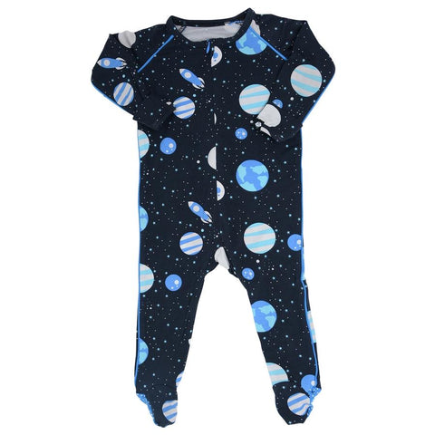 Sweet Bamboo Piped Footie - Outer Space