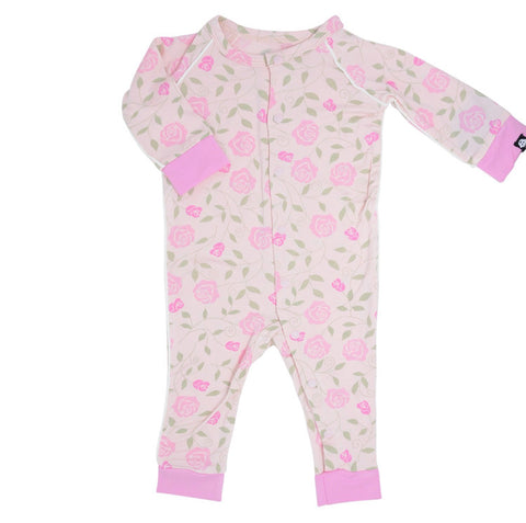 Sweet Bamboo Piped Romper - Pink Roses