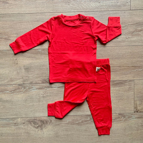 Kozi & Co Long Sleeve PJ Set - Solid Holiday Red