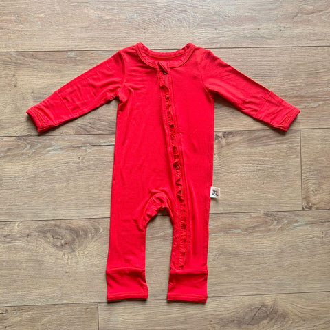 Kozi & Co Zipper Coverall w/ Ruffles - Solid Holiday Red