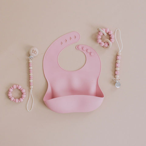Baby Bar & Co by Three Hearts Silicone Bib - Dusty Rose
