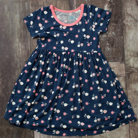 Bestaroo Short Sleeve Dress - Navy Spring Bloom - Let Them Be Little, A Baby & Children's Boutique