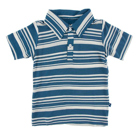 Kickee Pants Print Short Sleeve Polo - Fishing Stripe - Let Them Be Little, A Baby & Children's Boutique