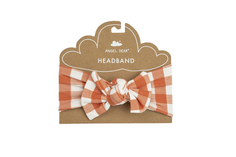 Angel Dear Bamboo Headband - Gingham Pumpkin