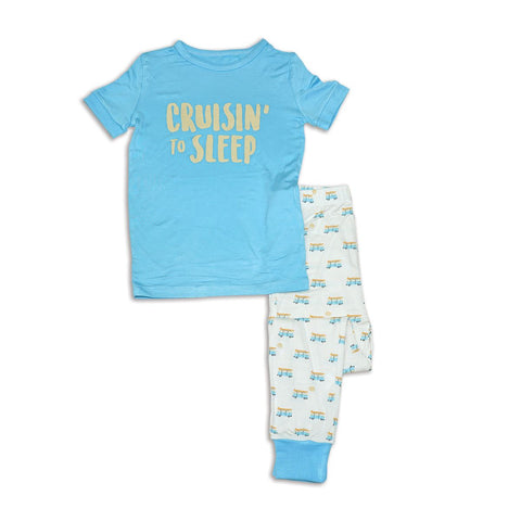 Silkberry Baby Bamboo Short Sleeve Pajama Set - Surf/Sunset Cruising Print