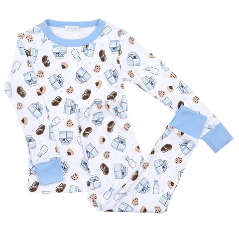 Magnolia Baby Long Sleeve PJ Set - Cookies & Milk Blue