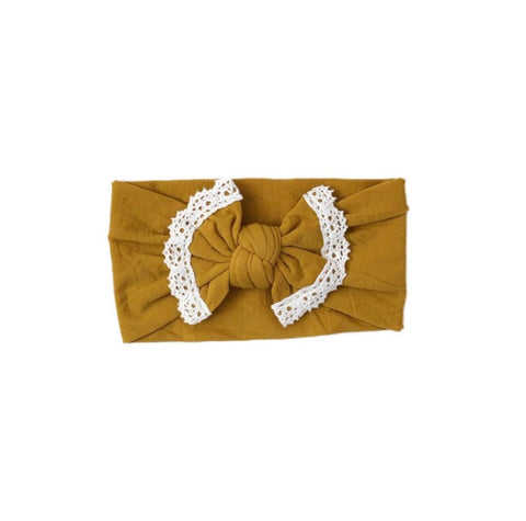 Poppy Knots Lace Bow - Mustard