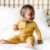 Brave Little Ones Ribbed Zip Romper - Mustard - Let Them Be Little, A Baby & Children's Boutique