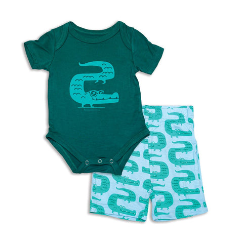 Silkberry Baby Bamboo Onesie & Shorts Set - Croc & Sherwood