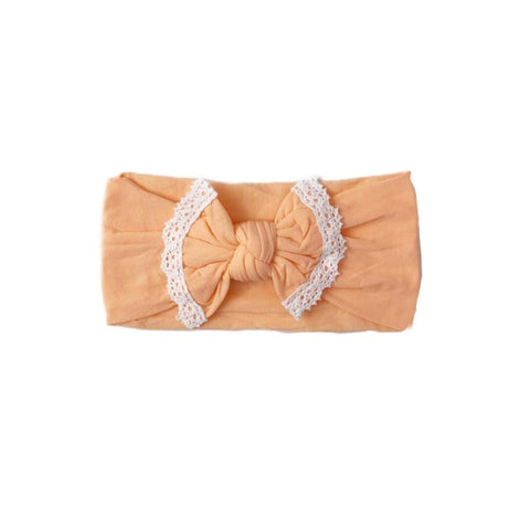 Poppy Knots Lace Bow - Peach