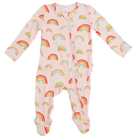 Angel Dear Ruffle Front Zipper Footie - Rainbows Pink - Let Them Be Little, A Baby & Children's Boutique