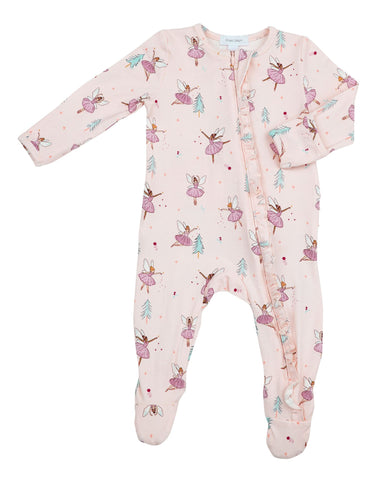 Angel Dear Ruffle Front Zipper Footie - Sugarplum Fairies