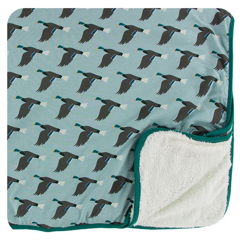 Kickee Pants Print Sherpa-Lined Toddler Blanket - Jade Mallard Duck - Let Them Be Little, A Baby & Children's Boutique