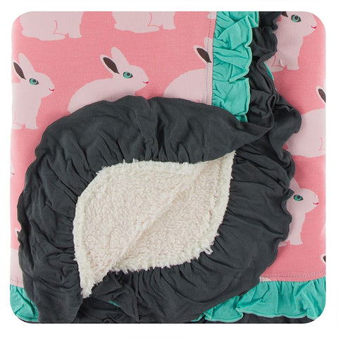 Kickee Pants Print Sherpa-Lined Double Ruffle Stroller Blanket - Strawberry Forest Rabbit