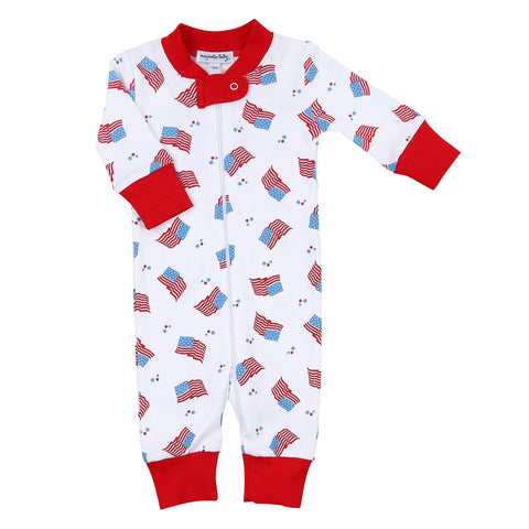 Magnolia Baby Zipped PJ Romper - Vintage Red, White, & Blue