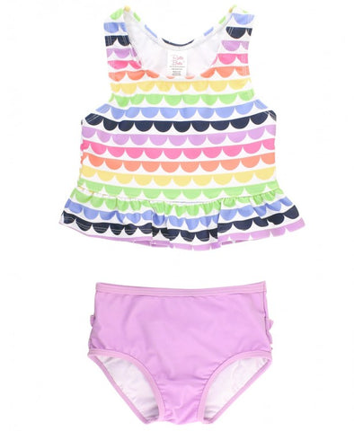 RuffleButts Peplum Tankini - Rainbow Scallop - Let Them Be Little, A Baby & Children's Clothing Boutique