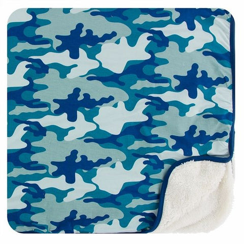 Kickee Pants Sherpa-Lined Toddler Blanket - Oasis Military