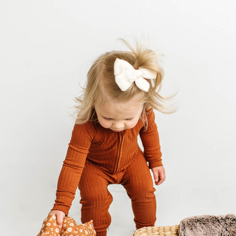 Brave Little Ones Ribbed Zip Romper - Rust