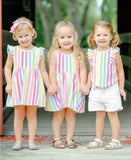 RuffleButts Rainbow Stripe Flutter Dress