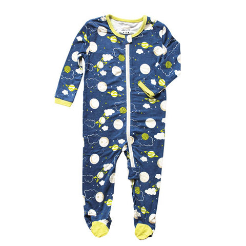 Silkberry Baby Bamboo Zip up Footed Sleeper - Blue Galaxy Space