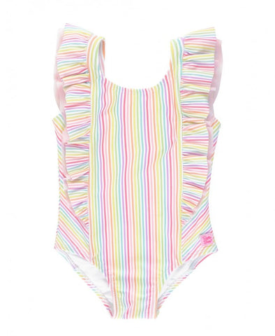 RuffleButts Waterfall One Piece Bathing Suit - Rainbow Stripe - Let Them Be Little, A Baby & Children's Boutique