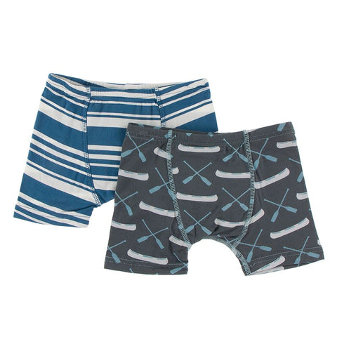 Kickee Pants Boxer Briefs Set - Fishing Stripe & Stone Paddles and Canoe
