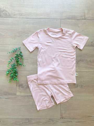 Kozi & Co Short Sleeve PJ Set w/ Shorts - Peony Pink - Let Them Be Little, A Baby & Children's Boutique