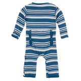 Kickee Pants Print Coverall with Zipper - Fishing Stripe