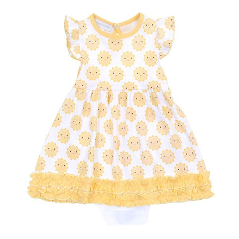 Magnolia Baby Printed Ruffle Dress Set - Sunshine