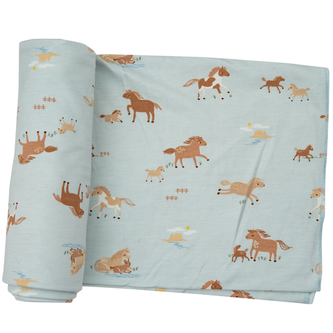 Angel Dear Bamboo Swaddle Blanket - Wild Horses Blue