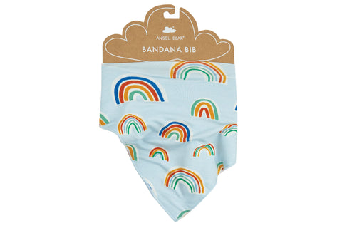 Angel Dear Bamboo Bandana Bib - Rainbows Blue