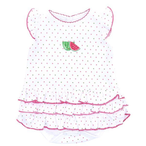 Magnolia Baby Embroidered Ruffle Bubble - One in a Melon