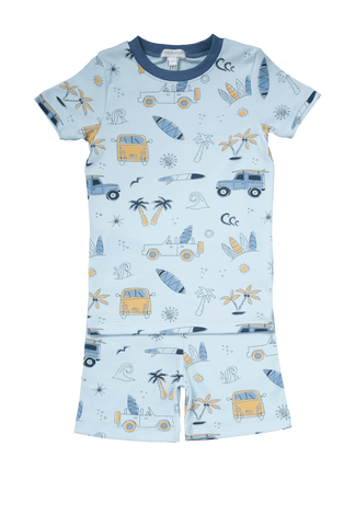 Baby Noomie Short Sleeve & Shorts PJ Set - Surf