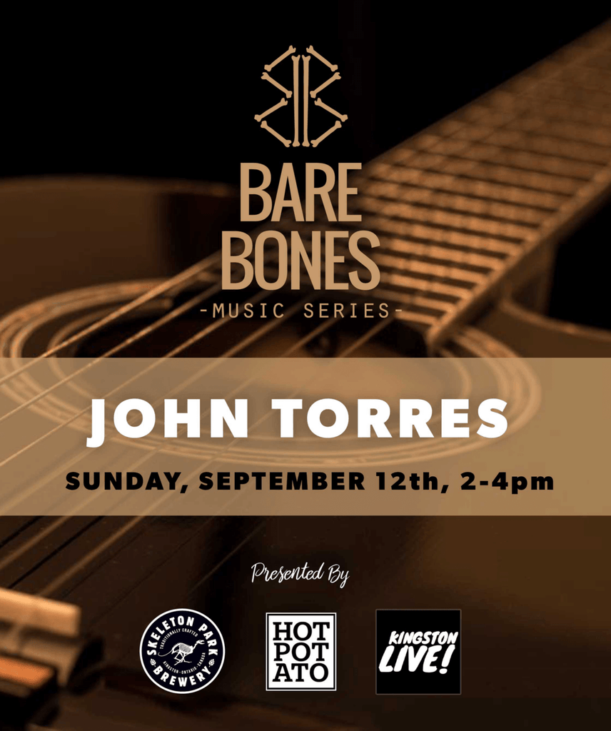 Promotional poster for Skeleton Park Brewery's Bare Bones Music Series 2021 featuring live music John Torres.