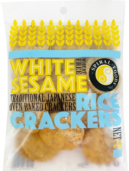 White sesame rice crackers