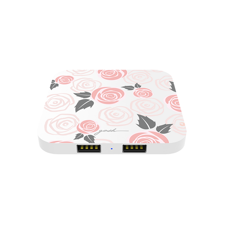 gosh intellicharge Slim Wireless Charger Qi 10W 2 USB Port Rosy Loves