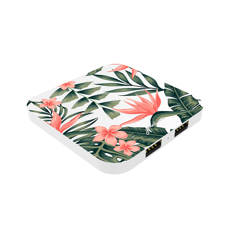 gosh intellicharge Slim Wireless Charger Qi 10W 2 USB Port Tropical Flora