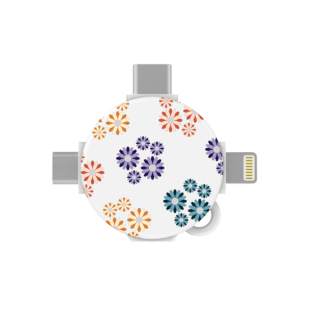 gosh LynkHub 3in1 Charging Adapter Lightning USB C Micro USB_Daisies Sparkle