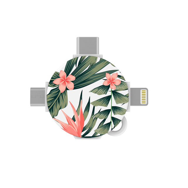 gosh LynkHub 3in1 Charging Adapter Lightning USB C Micro USB_Tropical Flora