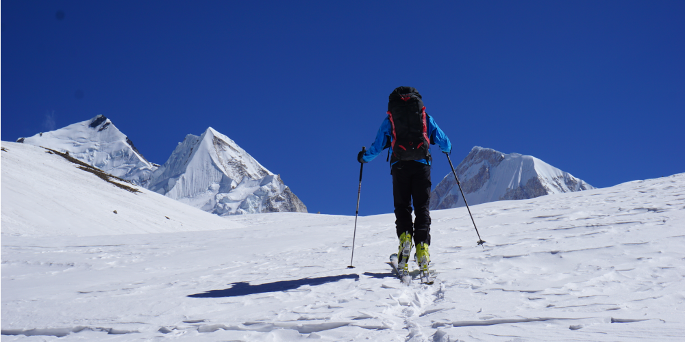 ski touring at 8000 meters
