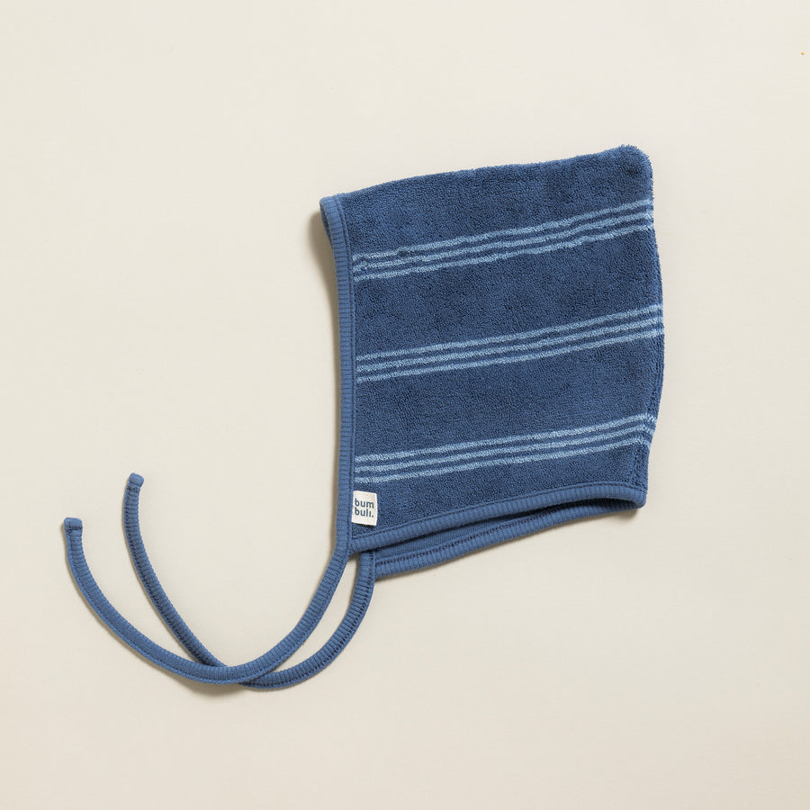 Baby Bonnet Terry Stripes Gray Blue