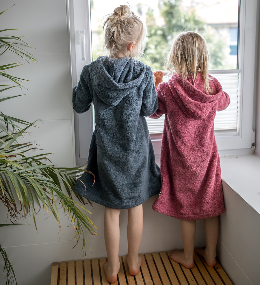 Little Bathrobe - Kinderbademantel aus Biobaumwolle, deco rose