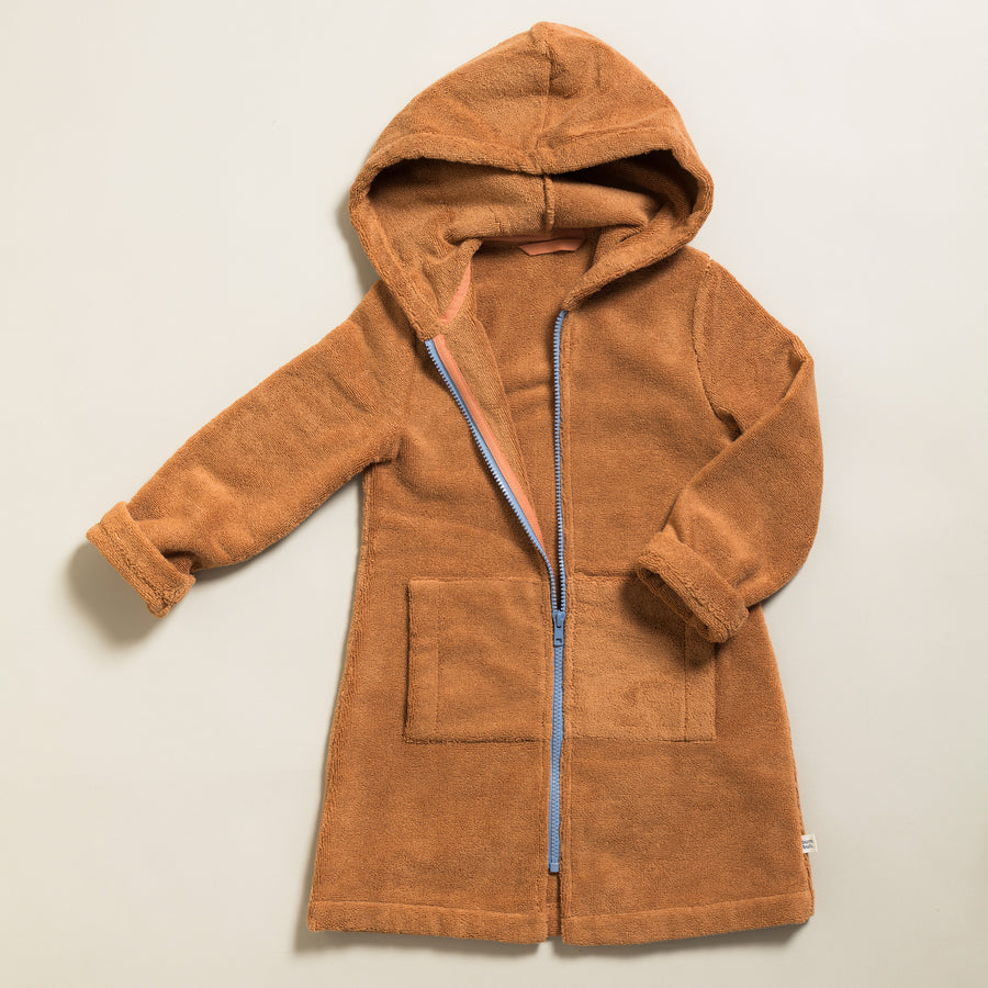 Little Bathrobe - Kinderbademantel Caramel/Gray Blue