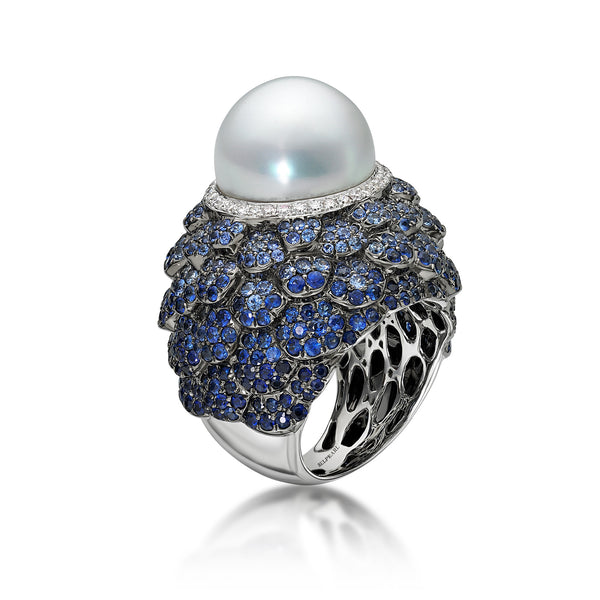 Indigo Ring - Pearl, sapphire and diamond Ring