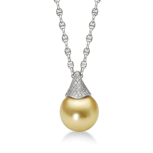 Ancora Pendant Diamonds- South Sea Pearl Necklace