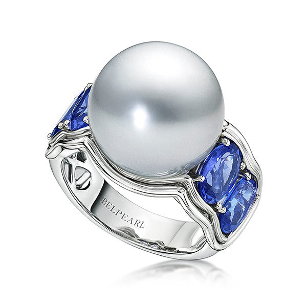 Aura Ring, Steel Blue Pearl Silver